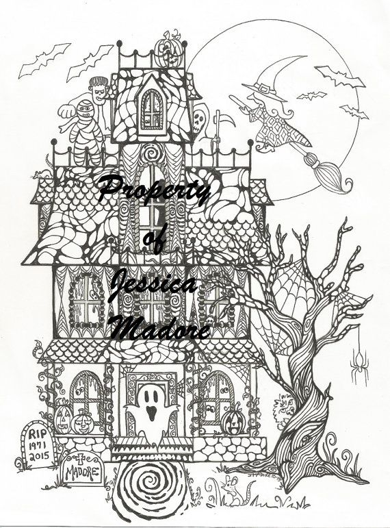 House Drawing Color: Haunted House Halloween Coloring Page & FREE By
