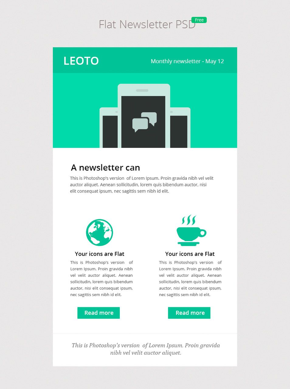 Flat Newsletter Psd  CssauthorCom  Web Design