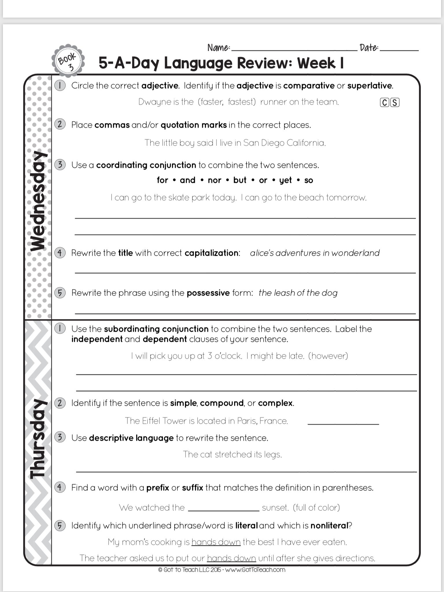 Pin By Freda Pittard On Third Grade Language Arts Language Review Third Grade Language Arts Coordinating Conjunctions