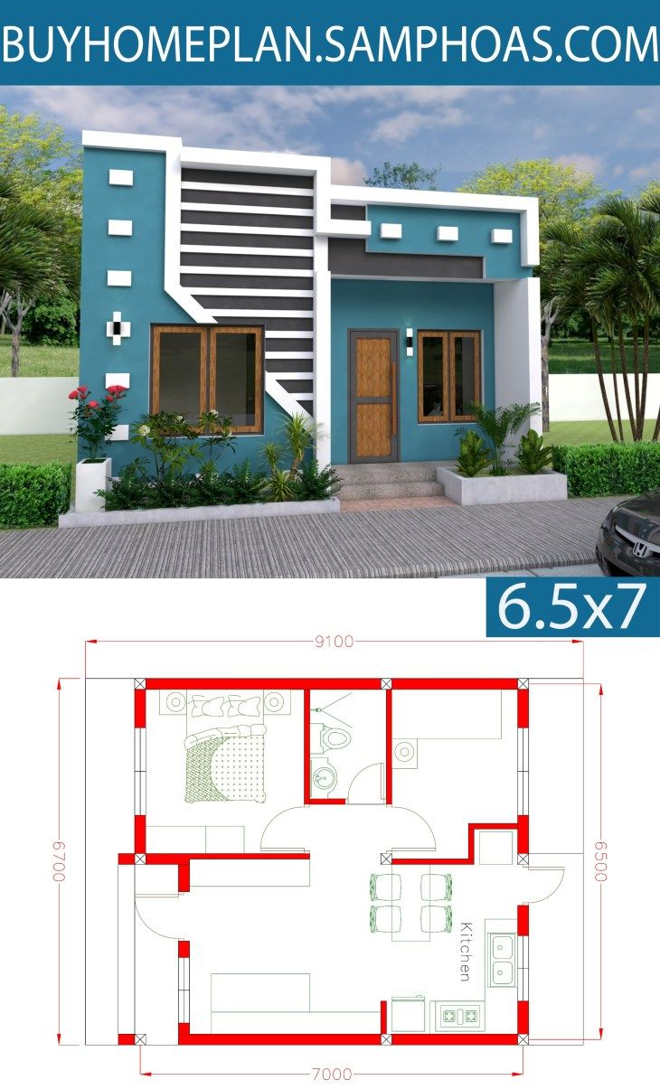 3d Simple House Plan With Two Bedrooms 22x30 Feet Simple