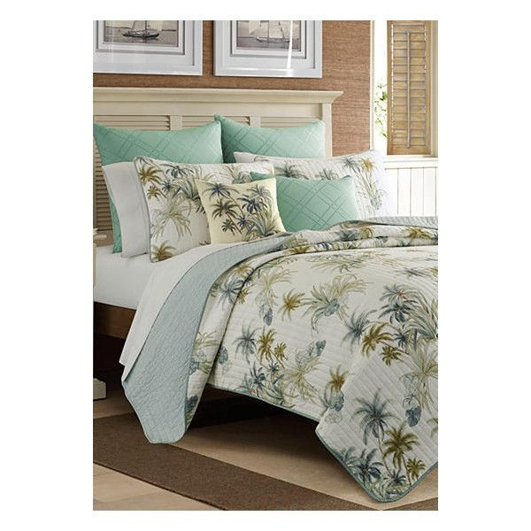 Tommy Bahama White Serenity Palms Fq Quilt ($130) ❤ liked on Polyvore featuring home, bed & bath, bedding, quilts, white, quilted coverlet, tommy bahama bedding, quilted shams, white bedding and white quilted coverlet