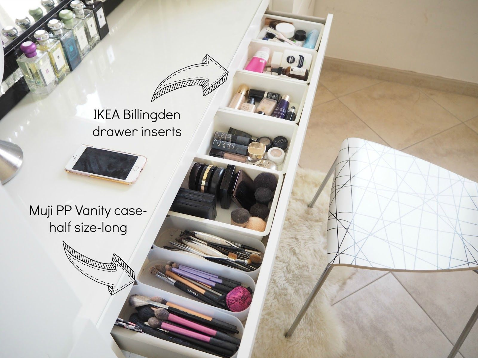 My make up storage/vanity/bedroom tour   Expat Make Up Addict-make up storage ideas-ikea malm dresser
