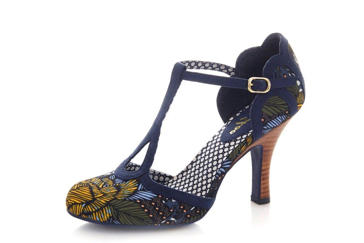 ca609a2e67d Ruby Shoo Polly Jungle Navy Floral Print High Heel T-Bar Sandals ...