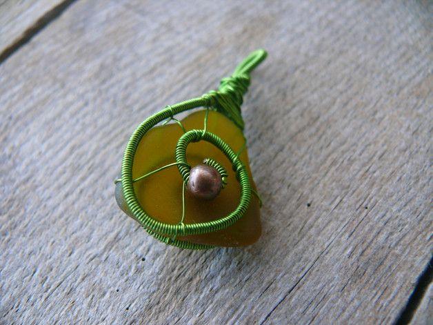 Draht gewickelt,Meer Glas Anhänger,Strand Glas   wire jewelry ...
