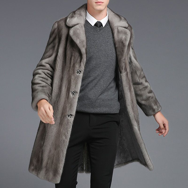 Mens Mink Faux Fur Coat Mid Long Winter Warm Slim Fit Casual Jacket ... 656aa6ae5