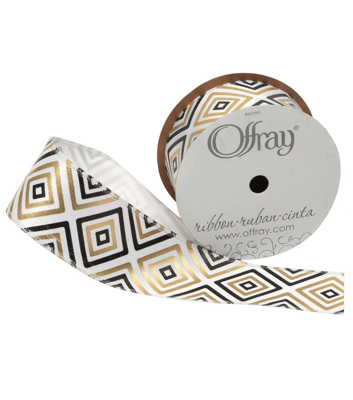 """Offray 1.5""""x9' 3D Abstract Diamonds Single Faced Satin Wired Edge Ribbon-Black"""