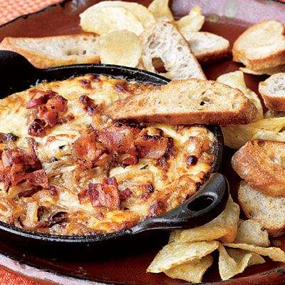 Hot Caramelized Onion Dip with Bacon and Gruyère | Coastal Living. A Very Zesty Yum's Up! from Lodge Cast Iron!