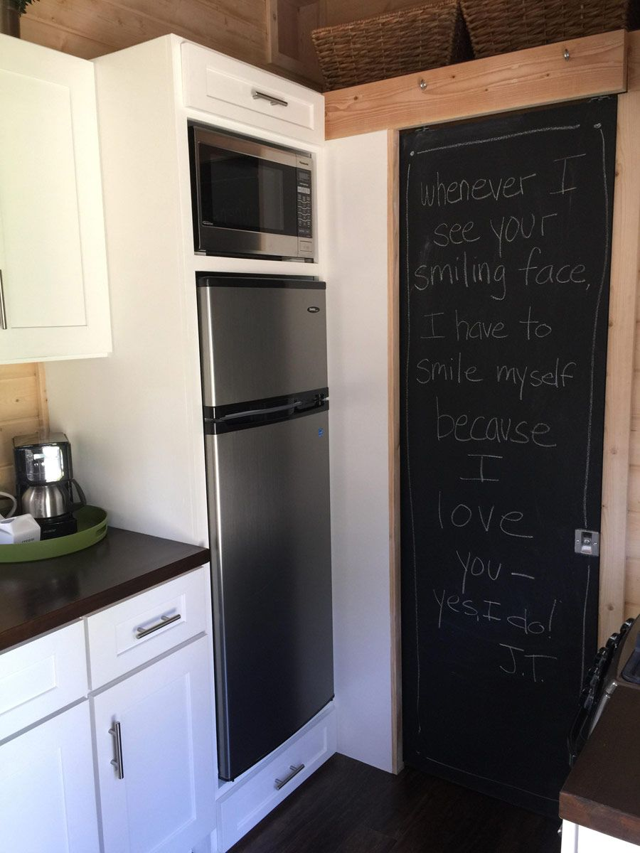 Tiny Home Kitchen  Great Fridge Size And Storage Space. And Bathroom Pocket  Door With Blackboard Paint, Cute!