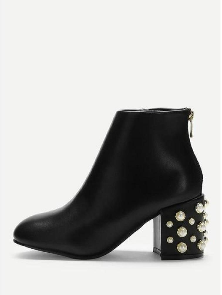 Faux Pearl Decorated Ankle Boots | How