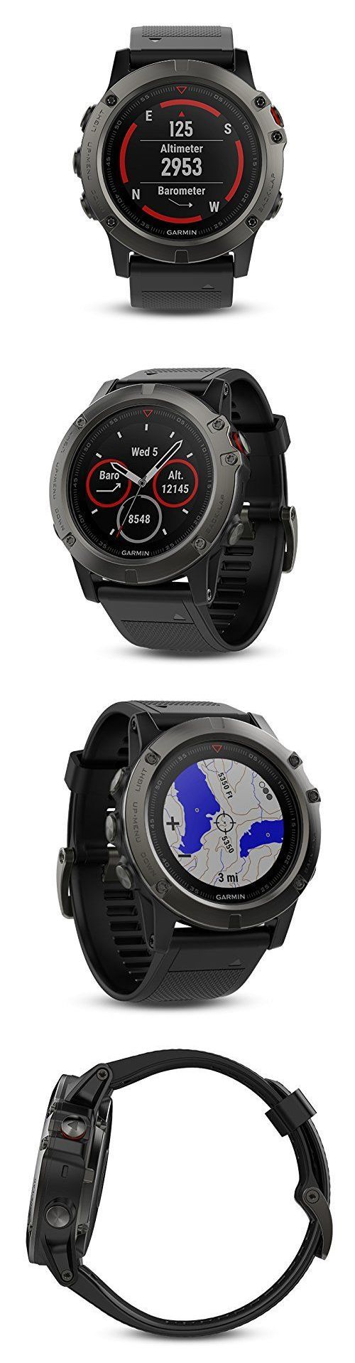 Gps And Running Watches 75230 Garmin Fenix 5x Sapphire Slate Gray 5 Grey With Black Band