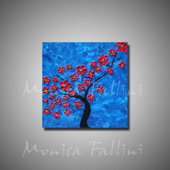 Red Cherry tree blossoms original painting by mfallinipaintings