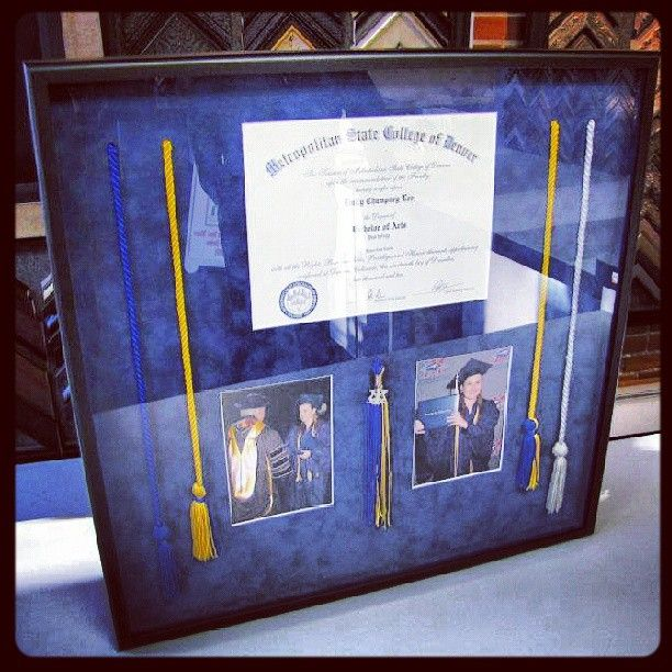 Custom framed diploma shadowbox including tassels and photos ...