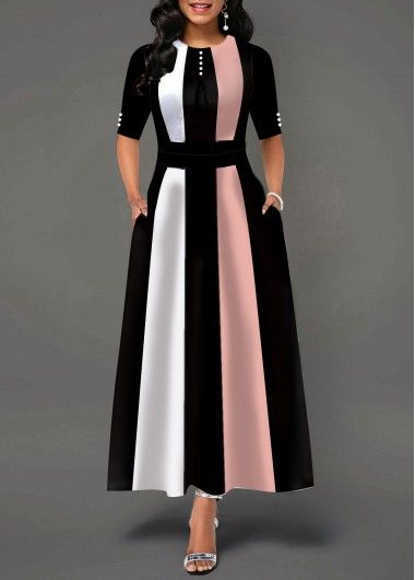 High Waist Color Block Button Detail Maxi Dress | Rotita.com - USD $35.96 2