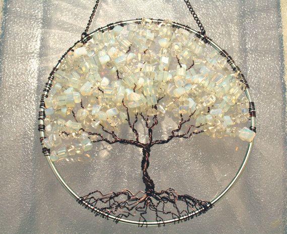 Large SunCatcher Tree of Life - Moonstone on Bronze Antique Copper ...