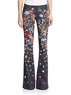 Alice and Olivia - Ryley Embellished Flared Jeans