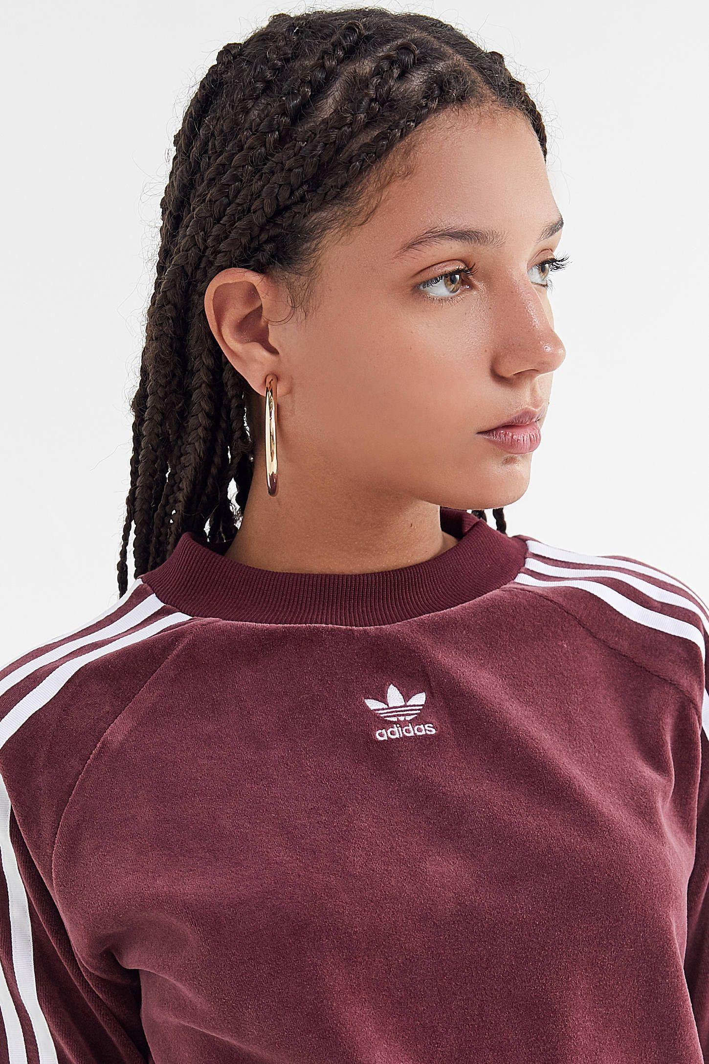 adidas Velvet Crew Neck Sweatshirt | Crew neck sweatshirt