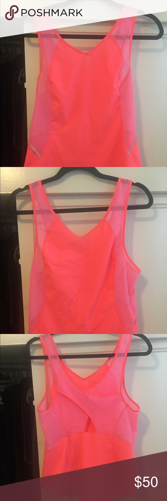 Lululemon run with sun tank Super cute hot pink tank from lululemon. Worn and washed less than 5 times. In really great shape. Size 6. lululemon athletica Tops Tank Tops