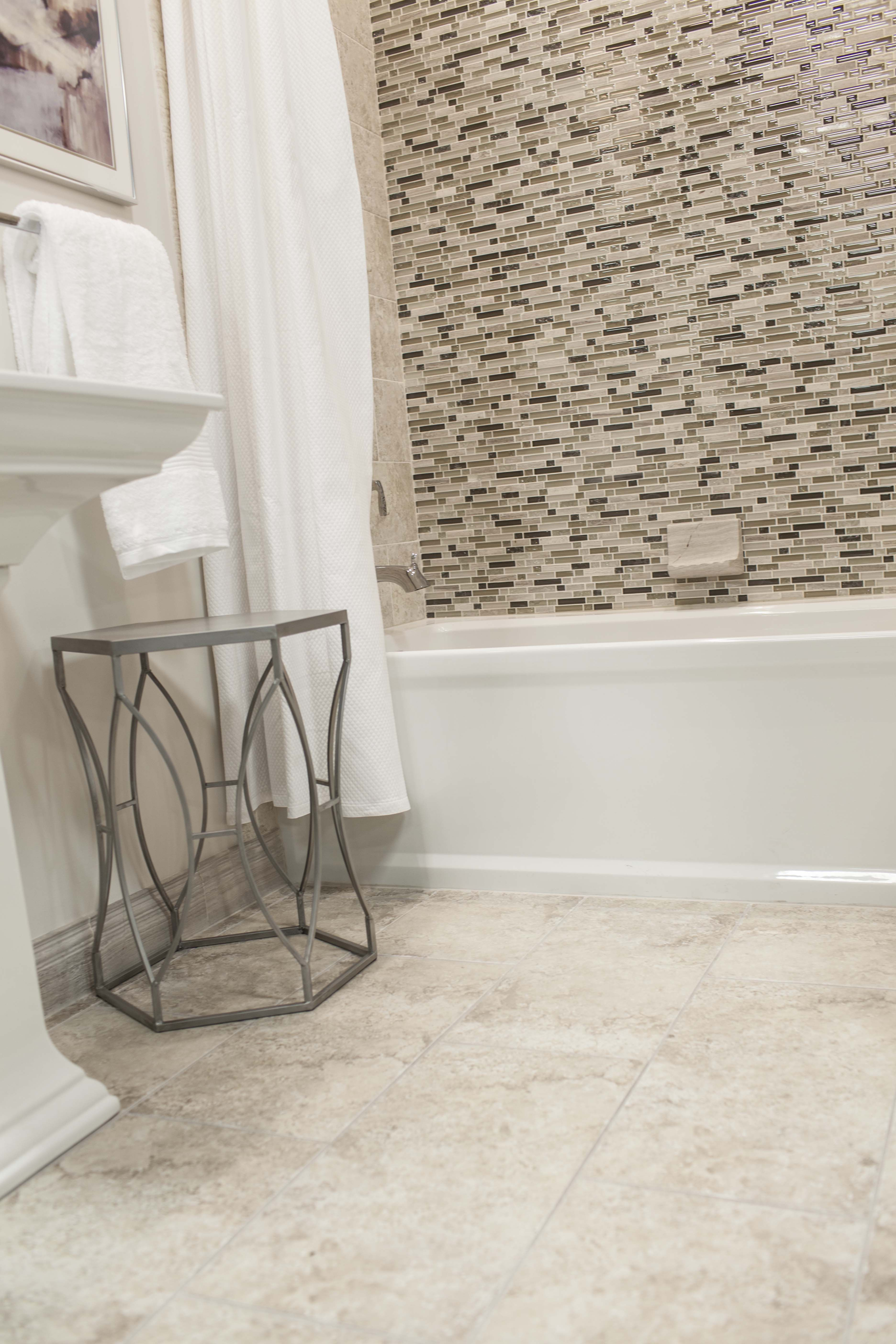 Ceramic Tile Floor Paired With Stone Glass Mosaics Thetileshop