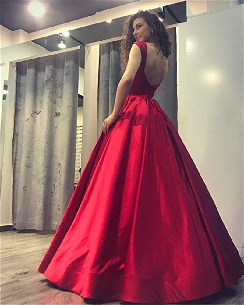 Gmar romantic backless evening dresses ruched satin long ball gown