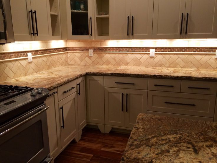 Kitchen Backsplash Pictures Travertine travertine backsplash herringbone | white kitchen cabinets