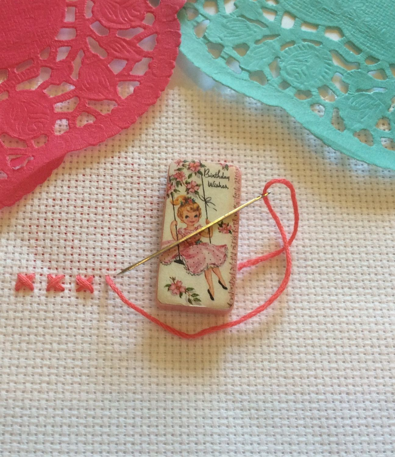 Needle minder girl on swing magnetic cross stitch sewing needle minder girl on swing magnetic cross stitch sewing needle point negle Images