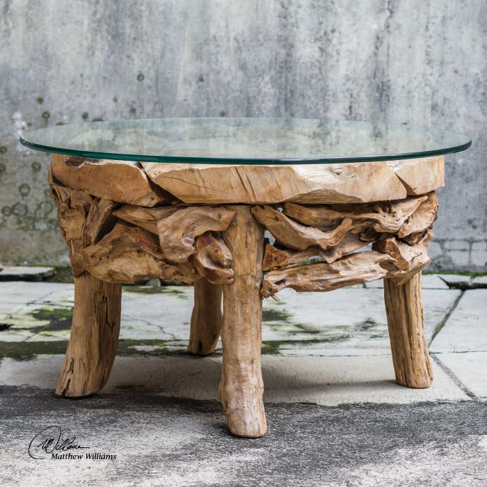 Natura Root Round Coffee Table Condo Size: Uttermost Teak Root Round Coffee Table. Natural
