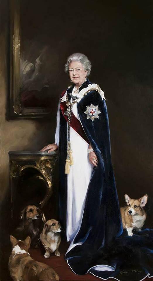 Official Portrait of Queen Elizabeth 2013 #corgi