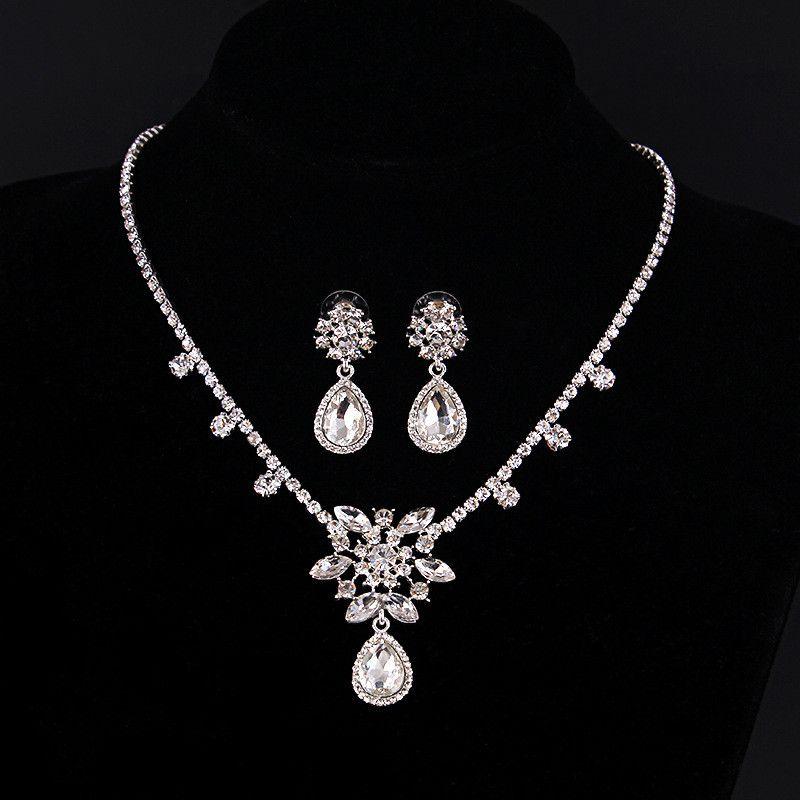 Teardrop Cristal Pendentif Boucle d/'oreille Collier Bijoux Set Blanc Plaqué Or Fashion