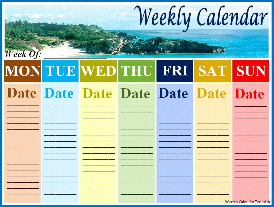 13 Photos of Weekly Calendar Template Word 13 Pinterest - one week calendar template word