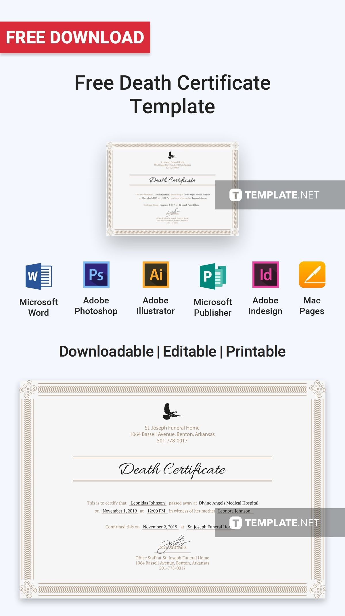 Free Death Certificate Free Certificate Templates Pinterest
