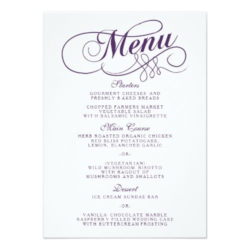 Elegant Purple And White Wedding Menu Templates Wedding menu - dinner invitation template
