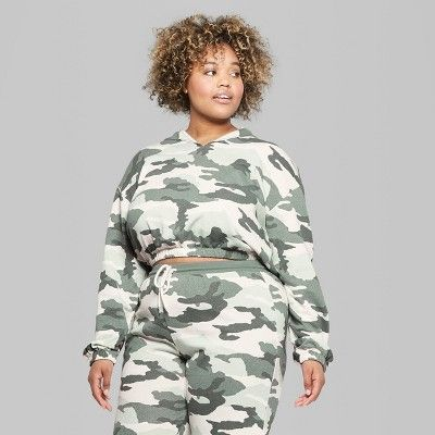 91a0636775a Women s Plus Size Camo Print V-Neck Sweatshirt - Wild Fable Green 4X ...