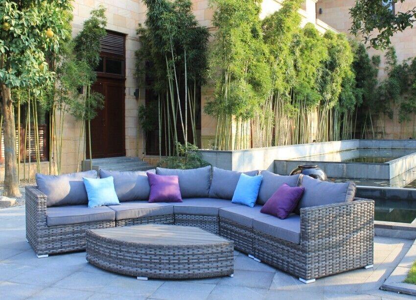 Luxury Grey Rattan Rounded Corner Sofa Set Outdoor Garden
