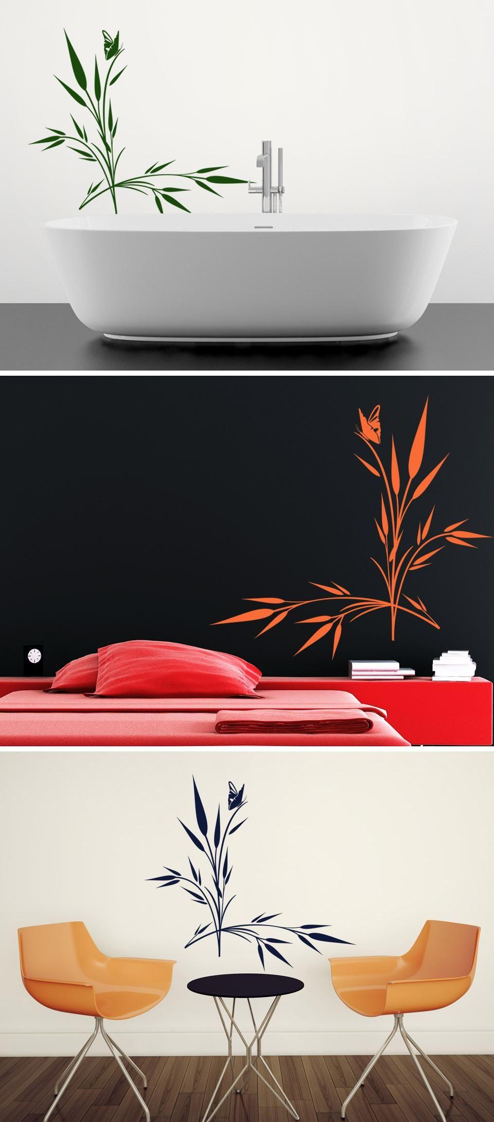 Wandtattoo Grashalme Mit Schmetterling Von Wandtattoo.com