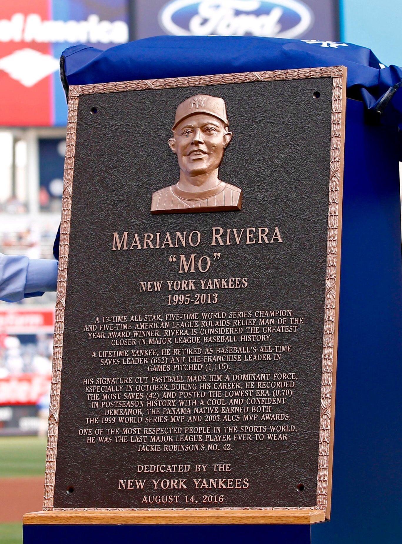 Placa De Mariano Rivera New York Yankees Baseball History Yankees