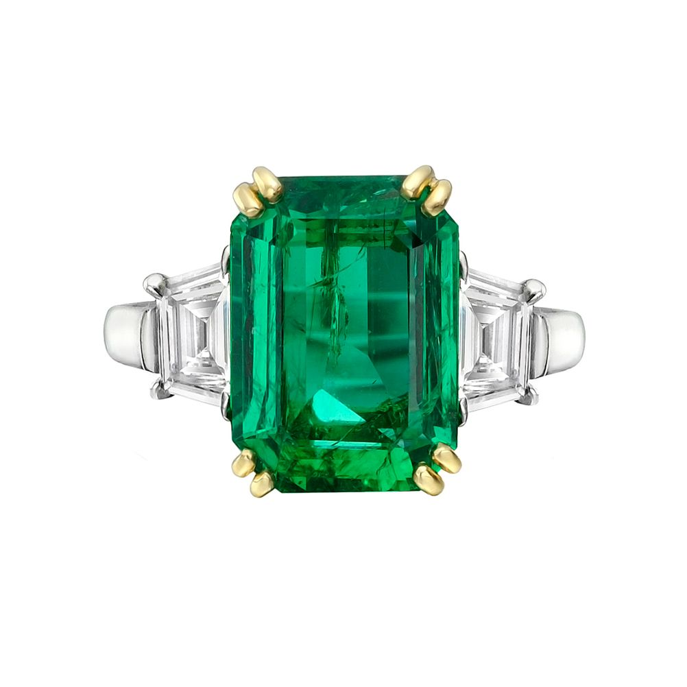 Estate Betteridge Collection Emerald-Cut Emerald & Diamond Ring ...