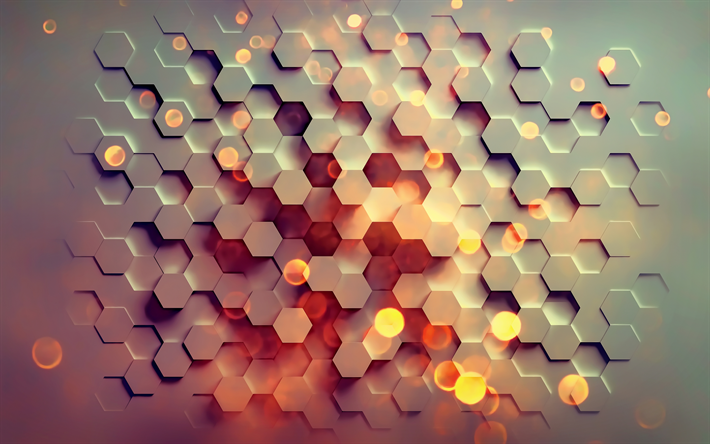 Download wallpapers hexagon, 4k, geometric shapes, art