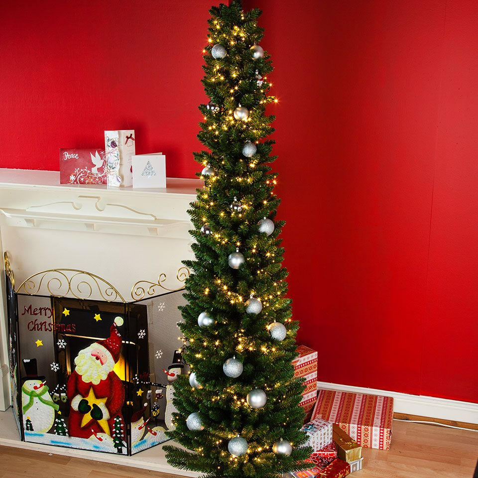 6ft Slim Christmas Tree Bundle With White Cluster Lights Slim Christmas Tree Christmas Tree Christmas Tree Decorations