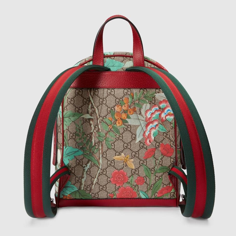 4b69afdec23f Shop the Gucci Tian GG Supreme backpack by Gucci. A small sized backpack  with leather