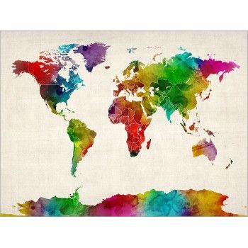 Httpartpausemaps100687 watercolor map of the world mapml trademark fine art watercolor world map ii by michael tompsett ready to hang canvas wall art gumiabroncs Choice Image