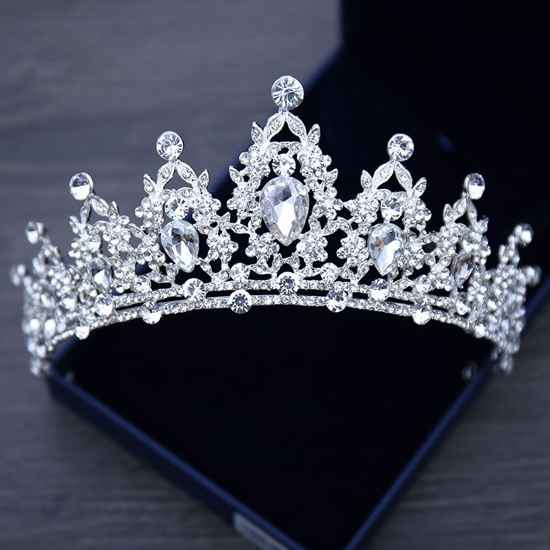7.2cm High Crystal Round Crown Wedding Bridal Party Pageant Prom 4 Colours