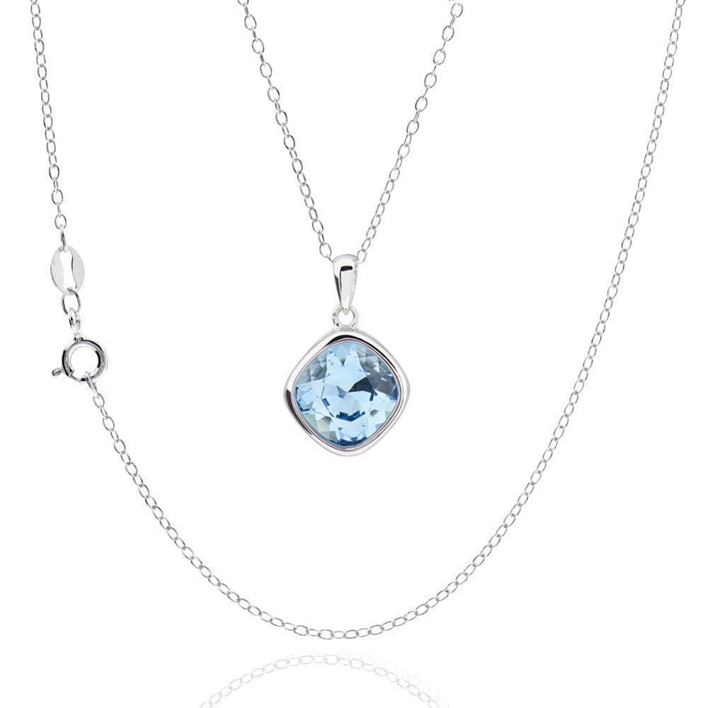 FD Sterling Square Cushion Genuine Austrian Crystal Elements Necklace 18-inch Chain