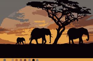 Африка (9цв.) | Обои со слоном, Силуэт слона, Слон мягкая ...