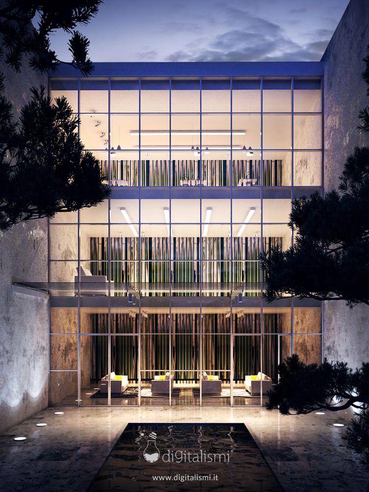 Office building exterior render night time render for Exterior edificios