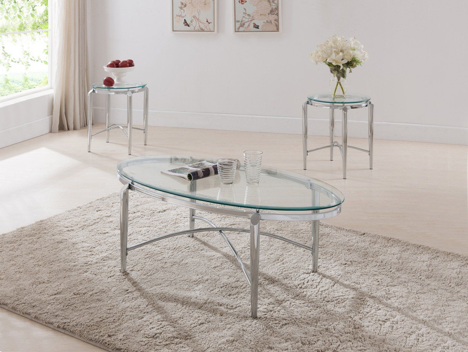 3 Piece Chrome Metal Glass Top Modern Occasional Cocktail Coffee 2 End Tables Set 3 Piece Coffee Table Set Sofa End Tables End Table Sets