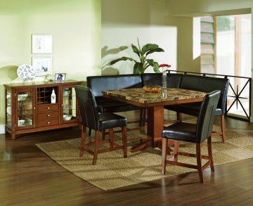 Attractive 6 PC Plato Granite Counter Height Dining Table Set With Black Sectional  Bench | Steve Silver At GoWFB.ca |