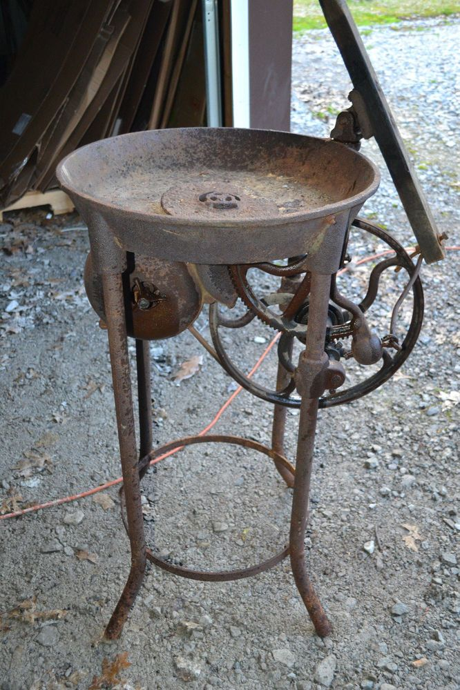 Antique Cast Iron Not Champion Blower And Forge, Blacksmith Coal Pot