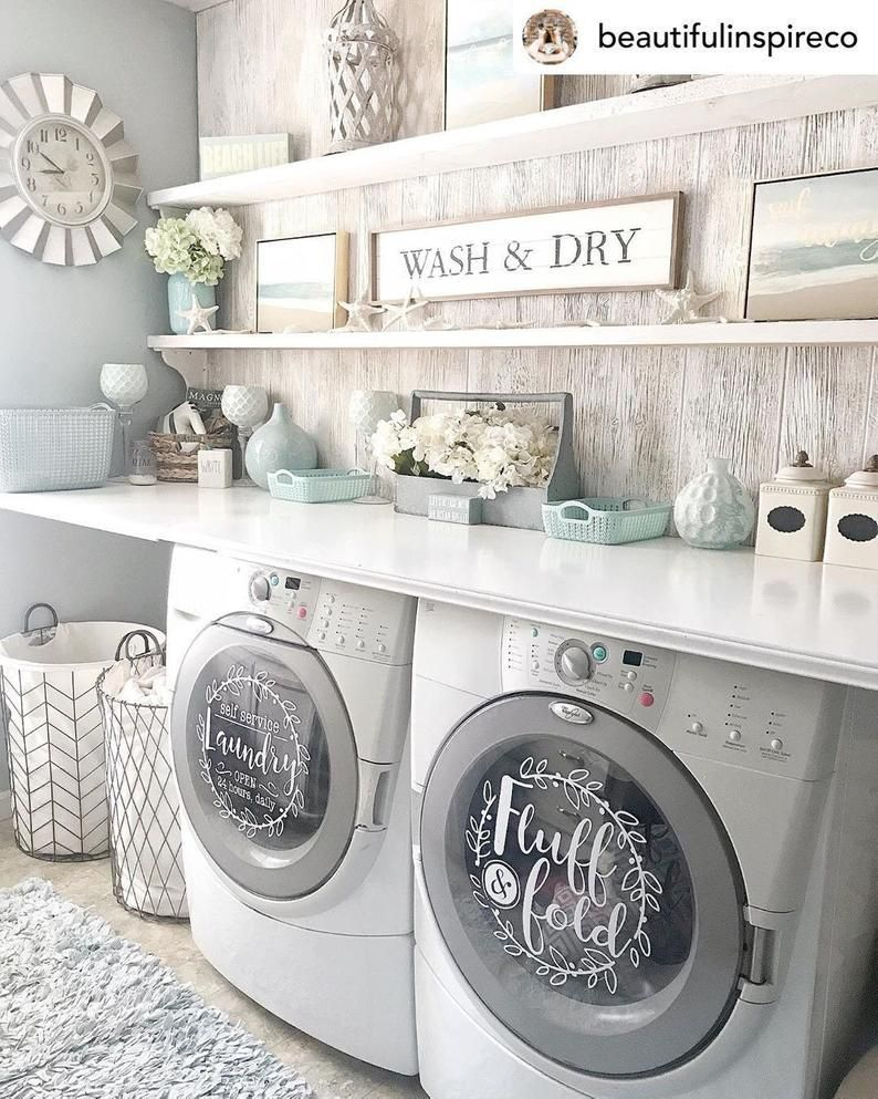Laundry Room Decor Self Service Laundry Fluff And Fold Vinyl Decal Set 13 5 Washer Dryer Vinyl In 2020 Laundry Room Renovation Laundry Decor Laundry Room Diy