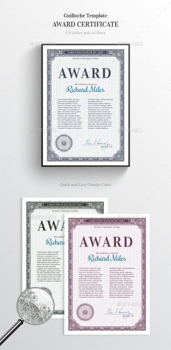 Award Certificate Pinterest Certificate design, Template and - Award Paper Template