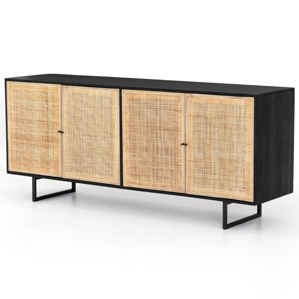 """Stylish Storage Ideas For Small Bedrooms: Audrey Woven 4 Door Sideboard 72""""- Black"""
